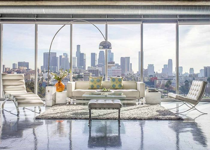 cement studio with a backdrop of Los Angeles